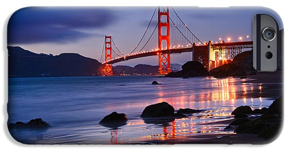 Twilight - Beautiful Sunset View Of The Golden Gate Bridge From Marshalls Beach. IPhone 6s Case by Jamie Pham