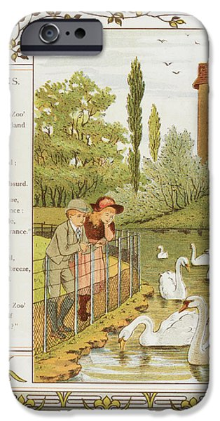 Two Children Looking At Swans On A Lake IPhone Case by British Library