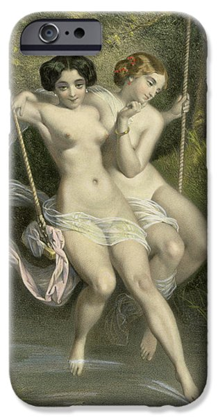 Two Ladies On A Swing IPhone Case by Charles Bargue