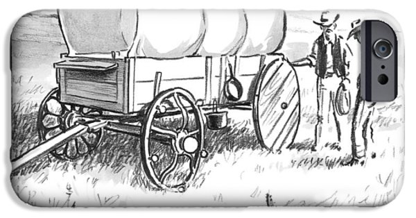 Two Pioneers Discuss The Wheels Of Their Wagon IPhone Case by Matthew Diffee