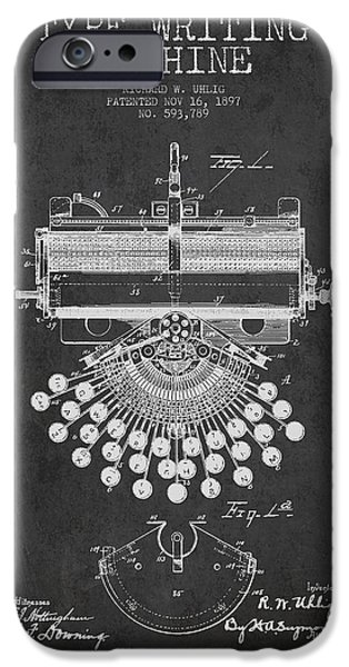 Type Writing Machine Patent Drawing From 1897 - Dark IPhone Case by Aged Pixel