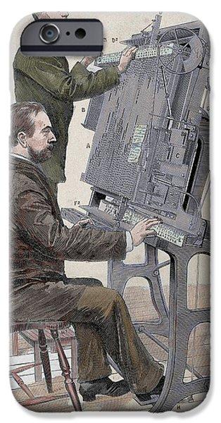 Typographic Composing New Machine IPhone Case by Prisma Archivo