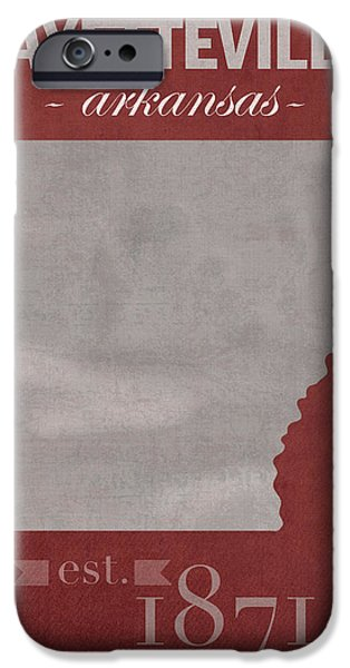 University Of Arkansas Razorbacks Fayetteville College Town State Map Poster Series No 013 IPhone 6s Case by Design Turnpike