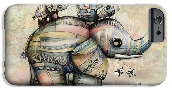 Upside Down Elephants IPhone Case by Karin Taylor