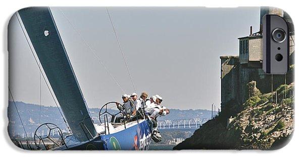 Upwind At Alcatraz IPhone Case by Steven Lapkin