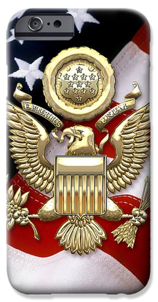 U.s.a. Great Seal In Gold Over American Flag  IPhone Case by Serge Averbukh