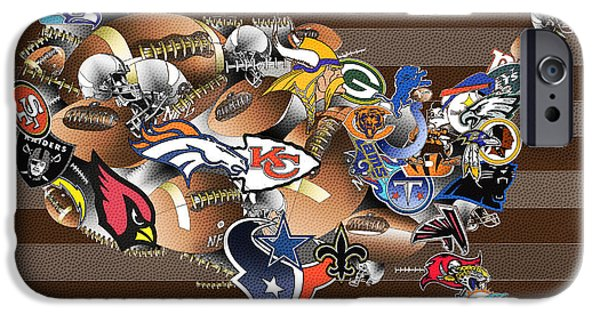 Usa Nfl Map Collage 2 IPhone Case by Bekim Art