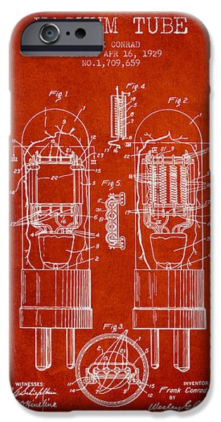 Vacuum Tube Patent From 1929 - Red IPhone Case by Aged Pixel