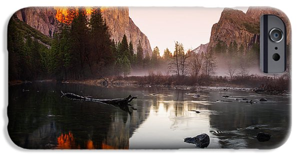 Valley View Winter Sunset Yosemite National Park IPhone Case by Scott McGuire