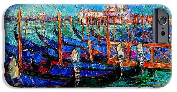 Venice - Gondolas - Santa Maria Della Salute IPhone Case by Mona Edulesco