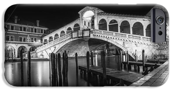 Venice Rialto Bridge At Night Black And White IPhone Case by Melanie Viola