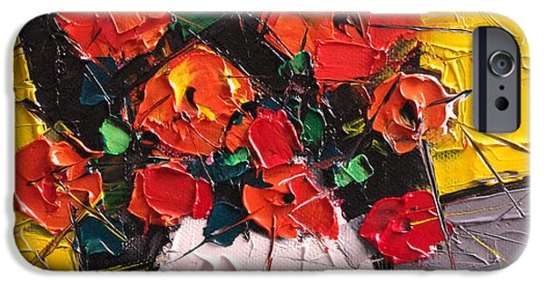 Vermilion Flowers On Black Square IPhone Case by Mona Edulesco
