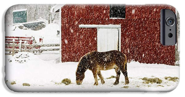 Vermont Christmas Eve Snowstorm IPhone Case by Edward Fielding