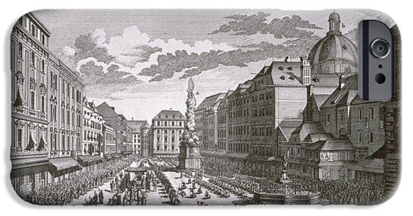 View Of A Procession In The Graben Engraved By Georg-daniel Heumann 1691-1759 Engraving IPhone Case by Salomon Kleiner