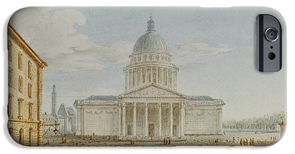 View Of The Church Of St. Genevieve, The Pantheon, 18th-19th Century Wc On Paper IPhone Case by Victor Jean Nicolle