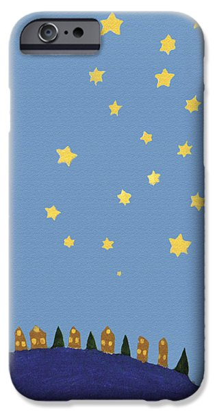 Village Starry Night IPhone Case by Michael Cagnacci