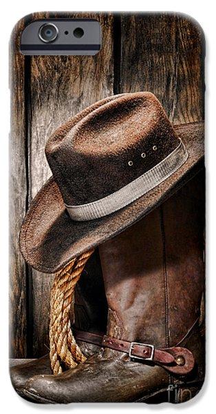 Vintage Cowboy Boots IPhone Case by Olivier Le Queinec