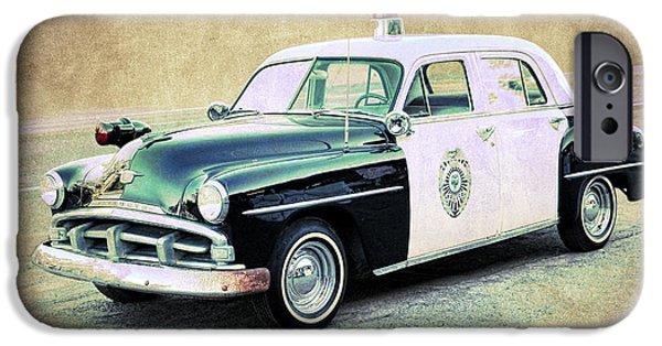 Vintage Plymouth Cop Car IPhone Case by Steve McKinzie