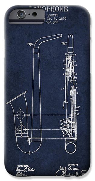 Saxophone Patent Drawing From 1899 - Blue IPhone 6s Case by Aged Pixel