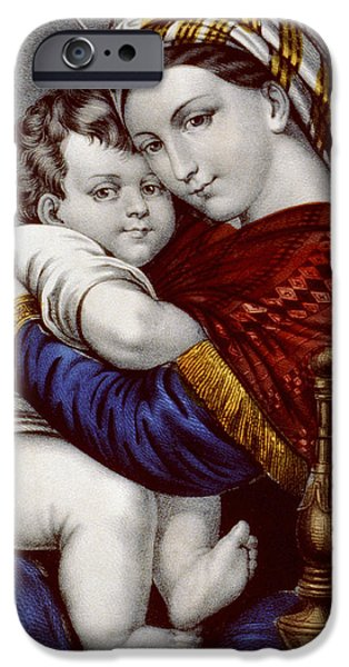 Virgin And Child Circa 1856  IPhone Case by Aged Pixel
