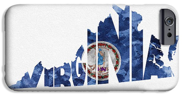 Virginia Typographic Map Flag IPhone Case by Ayse Deniz