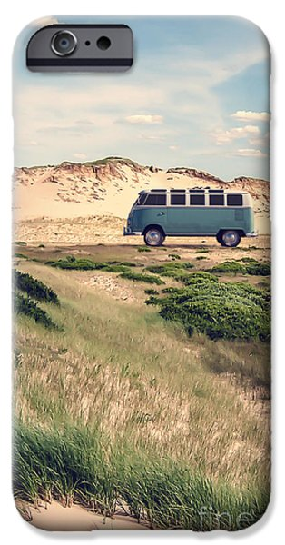 Vw Surfer Bus Out In The Sand Dunes IPhone Case by Edward Fielding