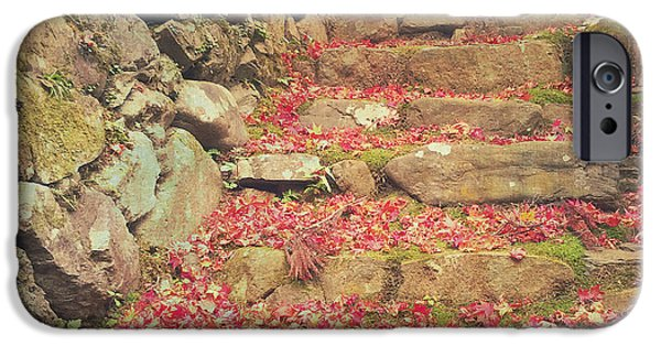 Wabi-sabi Rubble Masonry Bamboo Fence Fallen Leaves IPhone Case by Beverly Claire Kaiya