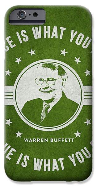 Warren Buffet - Green IPhone Case by Aged Pixel