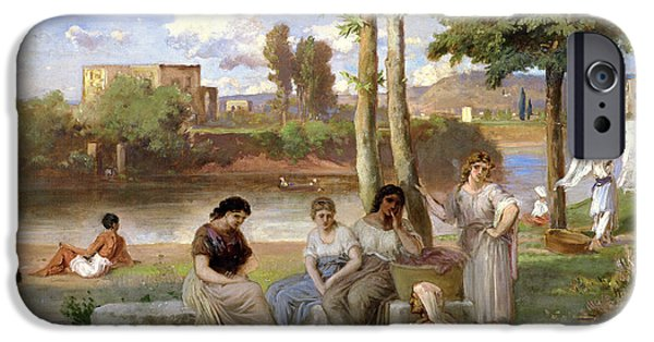 Washing On The Tiber IPhone Case by Heinrich Dreber