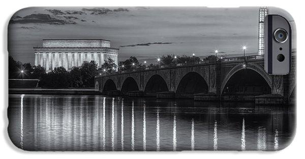 Washington Landmarks At Dawn II IPhone Case by Clarence Holmes