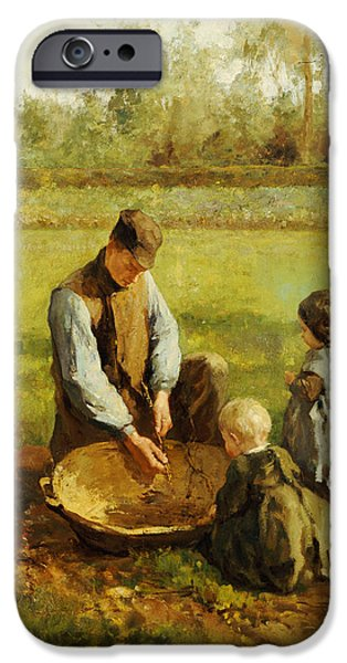 Watching Father Work IPhone Case by Albert Neuhuys