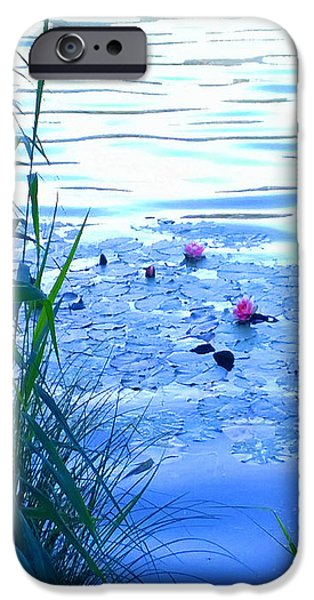 Water Lilies Blue IPhone Case by Theo Danella