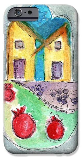 Watercolor Hamsa  IPhone Case by Linda Woods