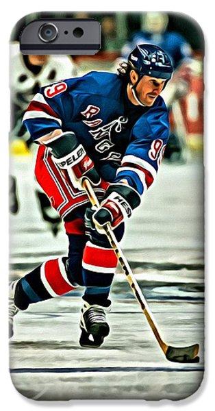 Wayne Gretzky Skating IPhone Case by Florian Rodarte
