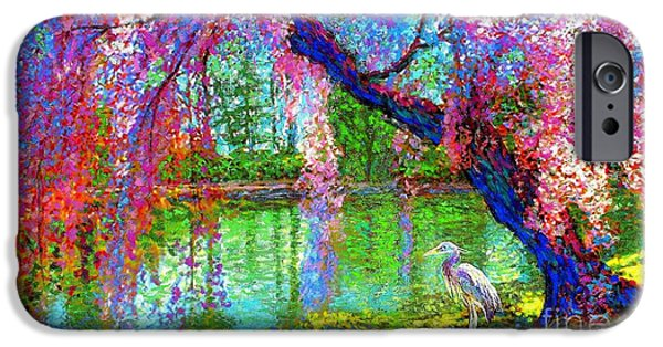 Weeping Beauty, Cherry Blossom Tree And Heron IPhone 6s Case by Jane Small