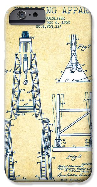 Well Drilling Apparatus Patent From 1960 - Vintage Paper IPhone Case by Aged Pixel
