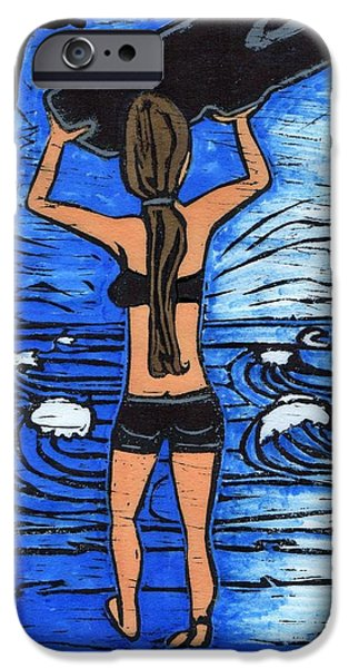 Westport Surfer Chick IPhone Case by Lyn Hayes