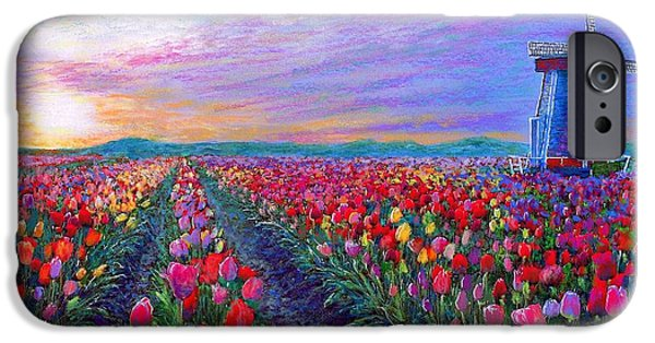 Tulip Fields, What Dreams May Come IPhone Case by Jane Small