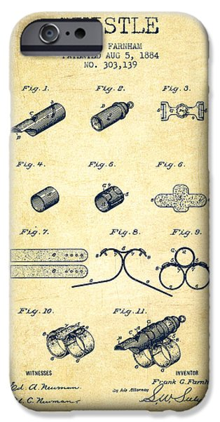 Whistle Patent From 1884 - Vintage IPhone Case by Aged Pixel