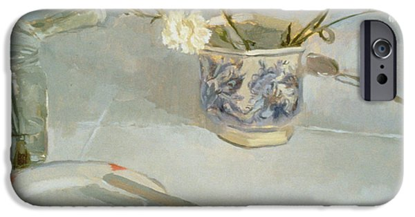 White Carnations In January Oil On Canvas IPhone Case by Sarah Butterfield
