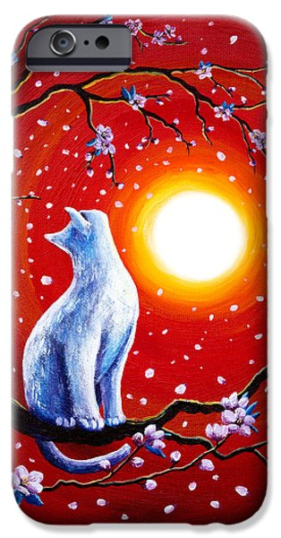 White Cat In Bright Sunset IPhone Case by Laura Iverson