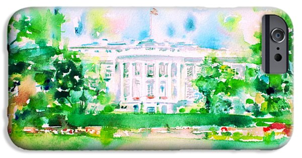 White House - Watercolor Portrait IPhone Case by Fabrizio Cassetta