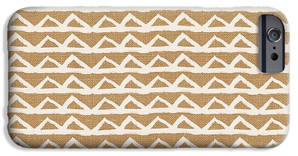 White Triangles On Burlap IPhone 6s Case by Linda Woods