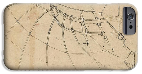 Wing Covered With Cloth And Moved By Means Of Crank Winch Below Right Detail Of Winch IPhone Case by Leonardo Da Vinci