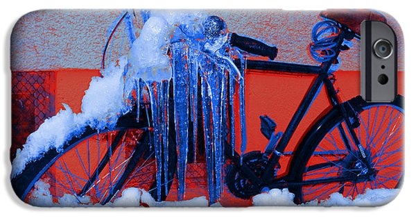Winter-bike 1 IPhone Case by Theo Danella