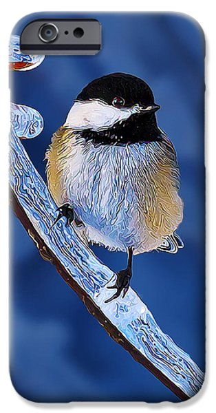 Winter Chickadee Hangs On IPhone Case by Bill Caldwell -        ABeautifulSky Photography