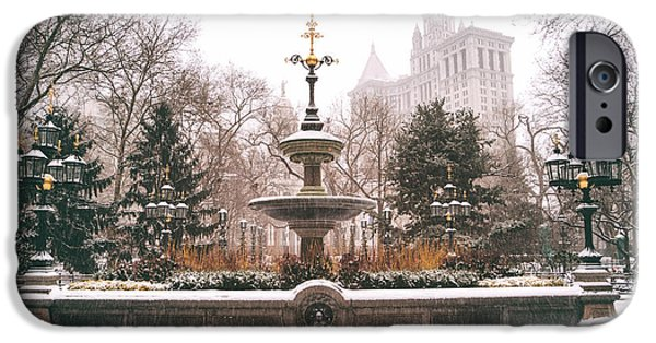 Winter - City Hall Fountain - New York City IPhone Case by Vivienne Gucwa