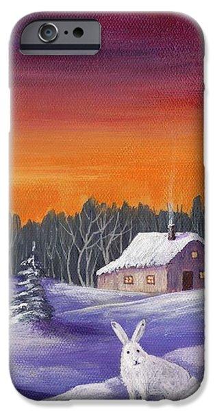 Winter Hare Visit IPhone Case by Anastasiya Malakhova