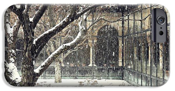 Winter Storm At The Cloisters 3 IPhone Case by Sarah Loft
