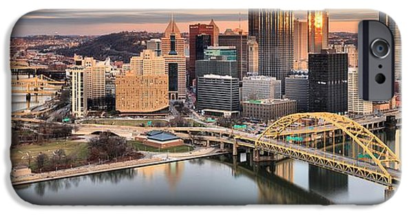 Winter Sunset Over The Pittsburgh Skyline IPhone Case by Adam Jewell